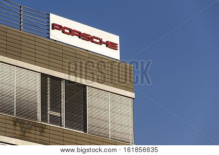 Prague, Czech Republic - December 16: Porsche Automotive Company Logo On Czech Headquarters Building