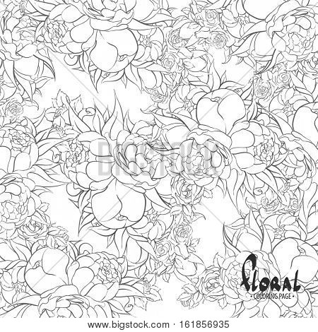 Black and white roses and peonies on a white background for coloring