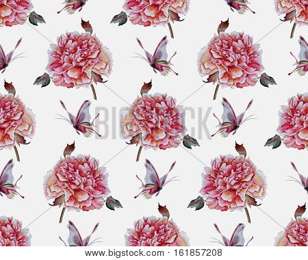 Watercolor flowers seamless patern. Background of peonies and butterflies. Pattern for textile, manufacturing, print, gift wrap and scrapbooking.