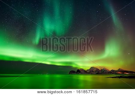 Aurora Borealis at Flaget coastline, Lofoten Norway