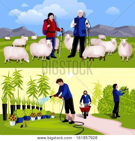 Cattle farm sheep tenders and decorative plants nursery workers 2 flat horizontal banners isolated vector illustration