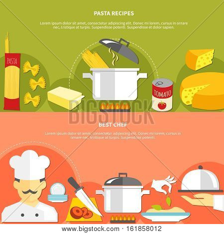Food flat horizontal banners with ingredients for pasta cooking and chef work responsibilities vector illustration