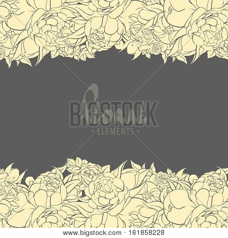 Gentle peonies and roses on a dark background for you