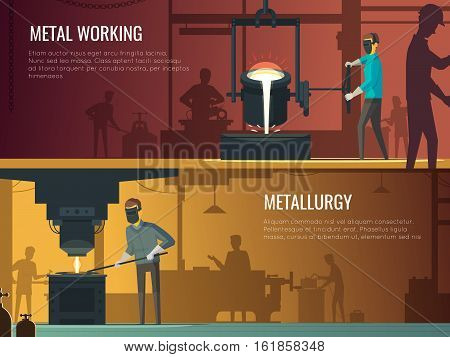 Industrial metalworking 2 Flat retro horizontal banners with melting casting and welding metallurgy process isolated vector illustration