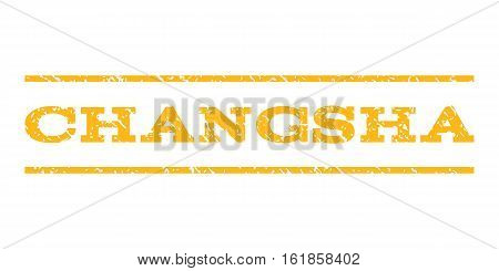 Changsha watermark stamp. Text tag between horizontal parallel lines with grunge design style. Rubber seal stamp with dirty texture. Vector yellow color ink imprint on a white background.