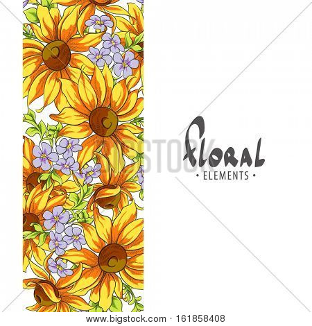 Professionally Decorated background with bright sunflowers and menots on a white background