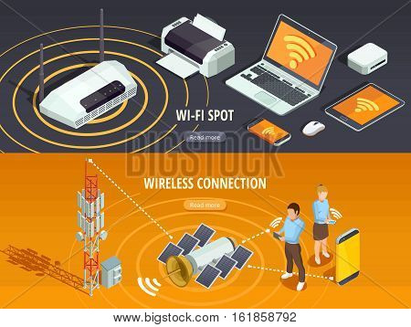 Internet wireless connection 2 isometric horizontal banners set with satellite signal and mobile devices isolated vector illustration