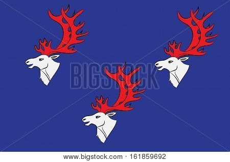Flag of Umea is a capital city of Vasterbotten County in the north of Sweden. Vector illustration