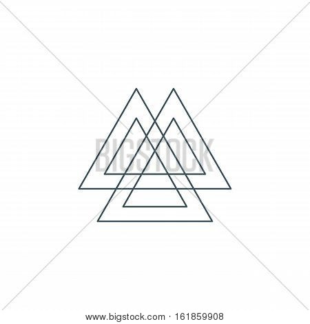 sacred geometry. thin line valknut symbol. ancient norse symbol consisting of three interlocked triangles and representing norse warrior culture. isolated on white background. vector illustration