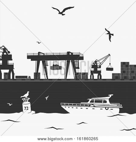Vector Illustration Commercial Sea Port eps 8 file format