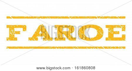 Faroe watermark stamp. Text tag between horizontal parallel lines with grunge design style. Rubber seal stamp with unclean texture. Vector yellow color ink imprint on a white background.