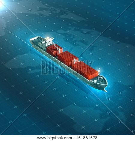 Cargo container ship on blue digital hi tech futuristic background. High quality 3d render metaphor for global goods tracking