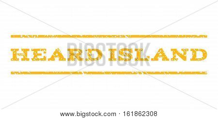 Heard Island watermark stamp. Text tag between horizontal parallel lines with grunge design style. Rubber seal stamp with dirty texture. Vector yellow color ink imprint on a white background.