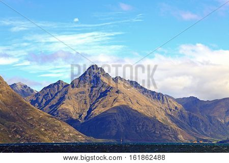 New Zealand Scenic Mountain Landscape at Lake Wakatipu of Queenstown New Zealand
