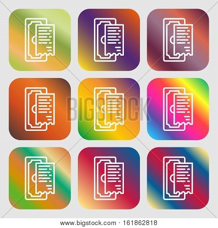 Cheque Icon Sign. Nine Buttons With Bright Gradients For Beautiful Design. Vector