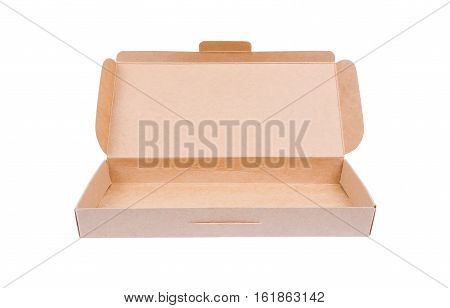 Cardboard box with lid open isolate on white background