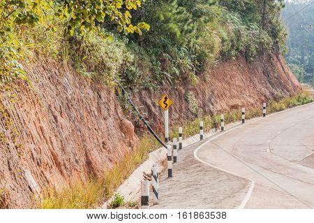 Curve on road through at Sri Lanna National Park Chiangmai
