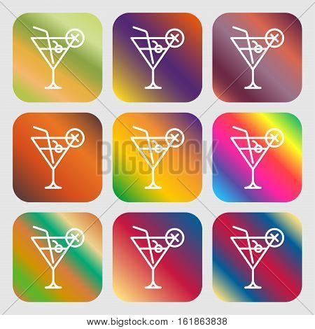 Martini Glass Icon Sign. Nine Buttons With Bright Gradients For Beautiful Design. Vector