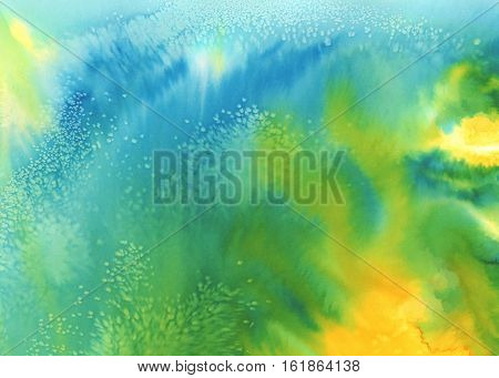 Abstract watercolor painted background. Bright yellow, green, blue colors used, childish look