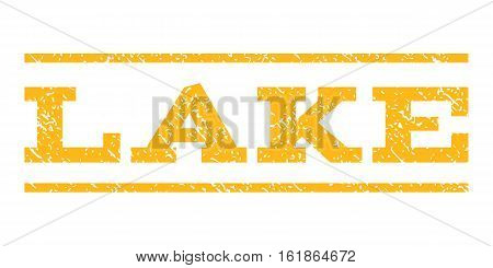Lake watermark stamp. Text caption between horizontal parallel lines with grunge design style. Rubber seal stamp with dust texture. Vector yellow color ink imprint on a white background.