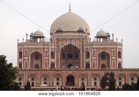 DELHI, INDIA - FEBRUARY 13 : Humayun's Tomb, built by Hamida Banu Begun in 1565-72, Delhi, India on February 13, 2016