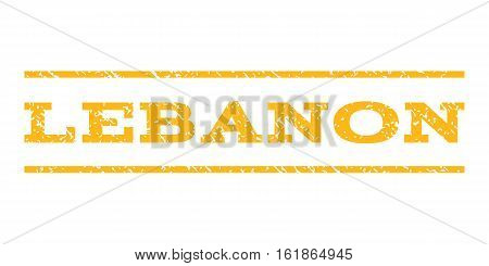 Lebanon watermark stamp. Text tag between horizontal parallel lines with grunge design style. Rubber seal stamp with unclean texture. Vector yellow color ink imprint on a white background.