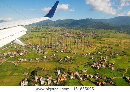 Suburbs of Kathmandu from the airplane, Nepal