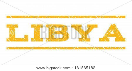 Libya watermark stamp. Text caption between horizontal parallel lines with grunge design style. Rubber seal stamp with dust texture. Vector yellow color ink imprint on a white background.