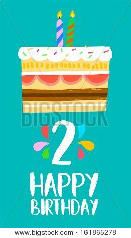 Happy Birthday Card For 2 Two Year Fun Party Cake