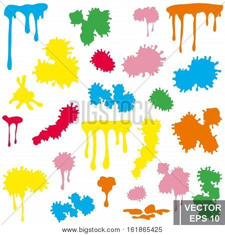 A Set Of Colored Ink Blots. Spot. Negligence. For Your Design.