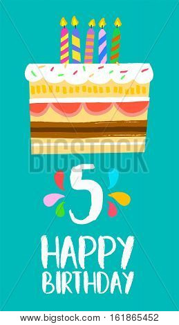 Happy Birthday Cake Card For 5 Five Year Party