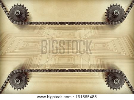 Cogwheels and double chain on grunge background with geometric shape and empty space for text.Technology background.