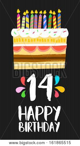 Happy Birthday Cake Card 14 Fourteen Year Party