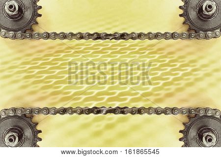 Cogwheels and double chain on yellow background with geometric pattern and empty space.Technology background.