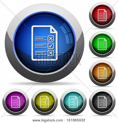 Questionnaire document icons in round glossy buttons with steel frames