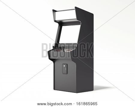 Dark gaming machine isolated on a white background. 3d rendering