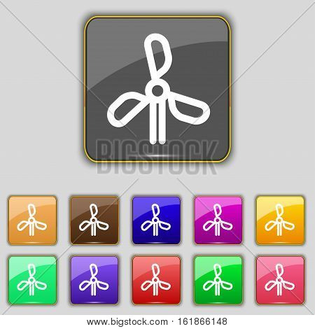 Wind Turbine Icon Sign. Set With Eleven Colored Buttons For Your Site. Vector
