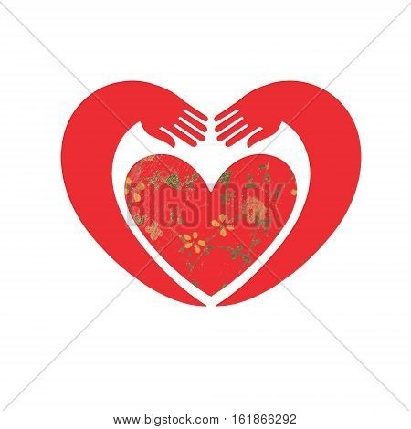 Hands forming a heart symbol. Pair of hands hugging floral heart. Cute vintage heart shape with flowers and leaves.