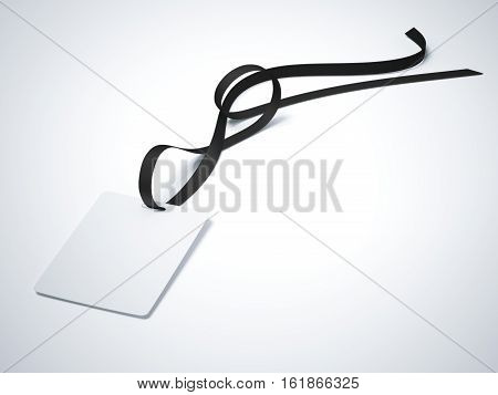 Blank white badge with neckband and dark tape in bright studio. 3d rendering