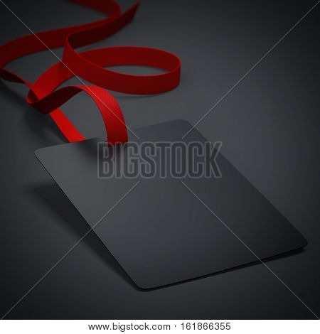 Black badge with neckband and red tape in bright studio. 3d rendering