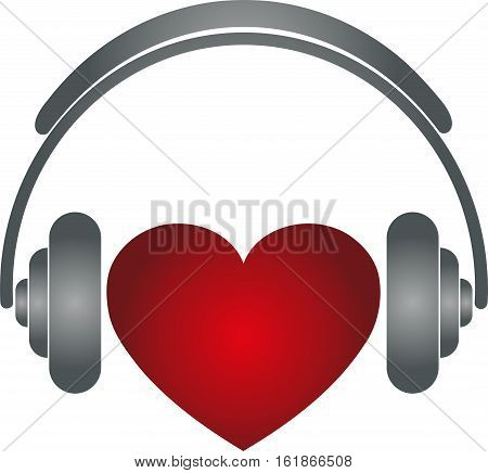 Heart and headphones, colored, music and sound logo