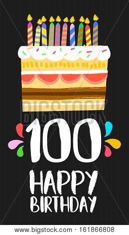 Happy Birthday Cake Card 100 Hundred Year Party