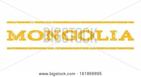 Mongolia watermark stamp. Text caption between horizontal parallel lines with grunge design style. Rubber seal stamp with scratched texture. Vector yellow color ink imprint on a white background.
