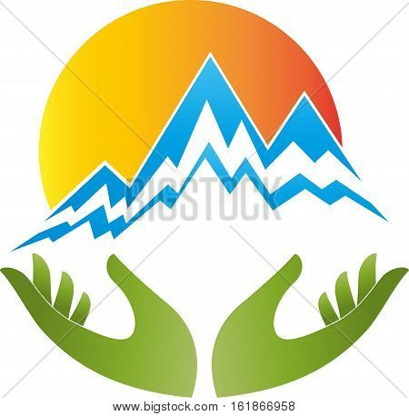 Mountains, sun and hands, travel and sports logo