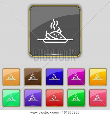 Plate With Red Hot Chili Pepper And Burning Porrige Icon Sign. Set With Eleven Colored Buttons For Y
