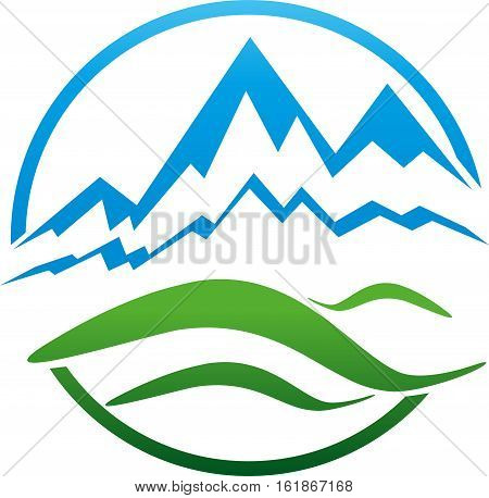 Mountains and meadow, hill, travel agency and sports logo