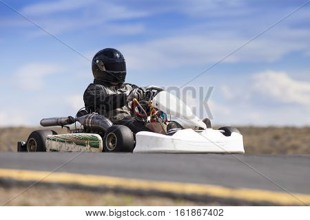 Adult Go Kart Racer on outdoor track