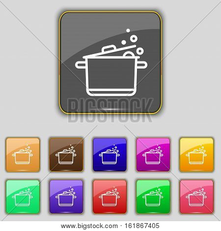 Pot Icon Sign. Set With Eleven Colored Buttons For Your Site. Vector
