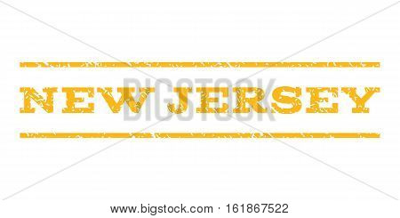 New Jersey watermark stamp. Text tag between horizontal parallel lines with grunge design style. Rubber seal stamp with dust texture. Vector yellow color ink imprint on a white background.