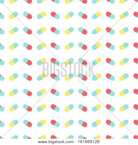 Medical seamless pattern made of capsule pills on white background. Pharmaceutical symbols. Vector Illustration.
